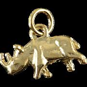 14K 3D Rhino African Africa Charm/Pendant Yellow Gold