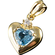 10K 0.53 CTW Blue Topaz Heart Charm/Pendant Yellow Gold