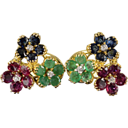 14K 4.56 CTW Sapphire Ruby Emerald Diamond Floral French Clip Earrings Yellow Gold
