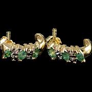 10K 0.79 CTW Emerald Diamond Half Hoop Earrings Yellow Gold