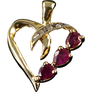 10K 0.63CTW Ruby Diamond Heart Cut Out Pendant Yellow Gold