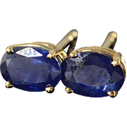 14K 1.50 CTW Oval Sapphire Stud Earrings Yellow Gold