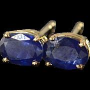 14K 1.50 CTW Oval Sapphire Stud Earrings Yellow Gold