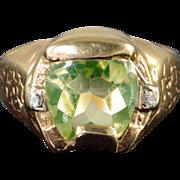 14K 1.00 CTW Green Peridot Diamond Horseshoe Lucky Flower Vintage Ring Size 6 Yellow Gold
