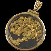 14K Raw Gold Nugget Holder Bezel Pendant Yellow Gold