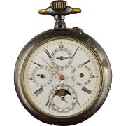 Ebouche Swiss Made Moon Phase 1800s Pocket Watch