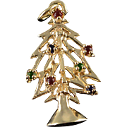 14K Gem Stone Ball Accented Christmas Tree Holiday Charm/Pendant Yellow Gold