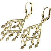 14K Filigree Dangle Leverback Earrings Yellow Gold