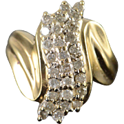 10K 0.81 CTW Diamond Cluster Bypass Ring Size 8.75 Yellow Gold