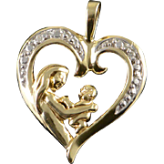 10K Diamond Encrusted Mother & Child Baby Heart Charm/Pendant Yellow Gold
