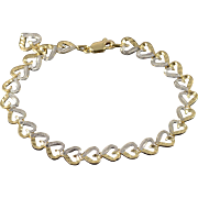 "10K Two Tone Heart Link Bracelet 7.25"" Yellow Gold"