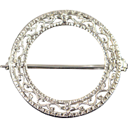 14K Filigree Circle Vintage Pin/Brooch White Gold