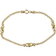"10K Heart Link Bracelet 6.75"" Yellow Gold"
