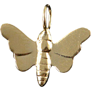 14K Embossed Butterfly Charm/Pendant Yellow Gold