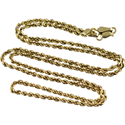 """14K 1.8mm Heavy Rope Link Chain Necklace 20.3"""" Yellow Gold"""