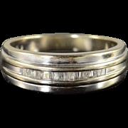 10K 0.26 CTW Diamond Inset Wedding Band Ring Size 8.75 White Gold