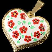 14K Red White Green Flower Enamel Hollow Puffy Heart Charm/Pendant Yellow Gold