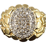 14K 0.40 CTW Diamond Encrusted Nugget Ring Size 7 Yellow Gold