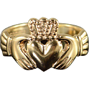 9K Claddagh Irish Heart Hand Love Promise Ring Size 7.25 Yellow Gold