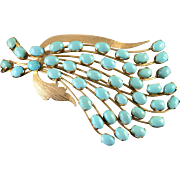 14K 20.00 CTW Natural Persian Turquoise Designer Flower Feather Pin/Brooch Yellow Gold