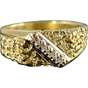 10K Accented Diamond Nugget Ring Size 9.5 Yellow Gold