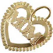 14K Filigree Mom Heart Cut Out Charm/Pendant Yellow Gold