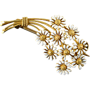 14K White Accent Daisy Flower Bunch Pin/Brooch Yellow Gold