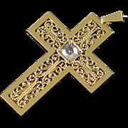 18K Stunning 0.50 CT Rose Cut Diamond Filigree Cross Charm/Pendant Yellow Gold