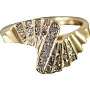 10K 0.25 CTW Diamond Twist Staircase Ring Size 10 Yellow Gold