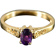 10K 0.40 CT Amethyst Filigree Ring Size 6.25 Yellow Gold