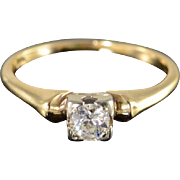 Art Deco 14K 0.25 CT Old Mine Cut Diamond Solitaire Round Engagement Ring Size 3.75 Yellow Gold