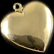 14K Hollow Puffy Heart Charm/Pendant Yellow Gold