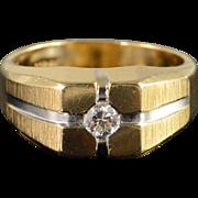 14K 0.20 CT Diamond Inset Men's Ring Size 9.25 Yellow Gold