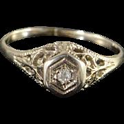 14K Genuine Diamond Art Deco Engagement Children's Baby Ring Size 3.75 White Gold