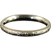 18K Antique Carved Wedding Band Ring Size 8 White Gold
