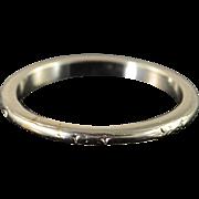 18K 2mm Fancy Engraved Vintage Wedding Band Ring Size 7 White Gold