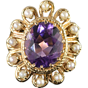 14K 4.50 CT Oval Amethyst Seed Pearl Halo Ring Size 7.25 Yellow Gold
