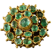14/18K Victorian 10.00 CTW Emerald Cluster Clasp Pendant Yellow Gold