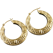 14K Greek Key Hollow Hoop Earrings Yellow Gold