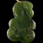 14K 40x25mm Tribal Figure Engraved Jade Charm/Pendant Yellow Gold