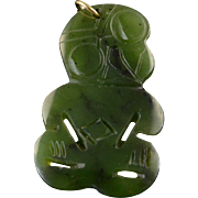 14K 40x25mm Tribal Figure Engraved Jade Charm/Pendant Yellow Gold