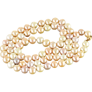 """14K 10mm Pearl Strand Huge Long Necklace 33"""" Yellow Gold"""