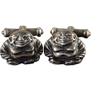 Sterling Silver Vintage Awesome Buddha Fat Man Cuff Link