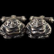 Sterling Silver Vintage Awesome Buddha Fat Man Cuff Link   [QPQC]