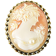 14K Carved Vintage Carved Cameo Pin/Brooch Yellow Gold