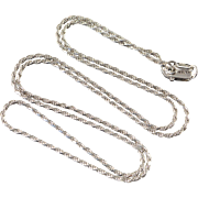 """14K 1.2mm Rope Twist Link Chain Necklace 18"""" White Gold"""