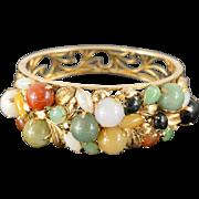14K Multi Colored Jade Hinged Bangle Bracelet Yellow Gold
