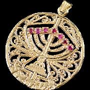 14K Vintage Ruby Turquoise Spinning Menorah Jewish Filigree Charm/Pendant Yellow Gold