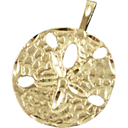 14K Large Detailed 3D Sand Dollar Sea Ocean Beach Charm/Pendant Yellow Gold