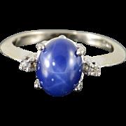 10K 2.52 CTW Syn Star Sapphire Diamond Ring Size 5.25 White Gold